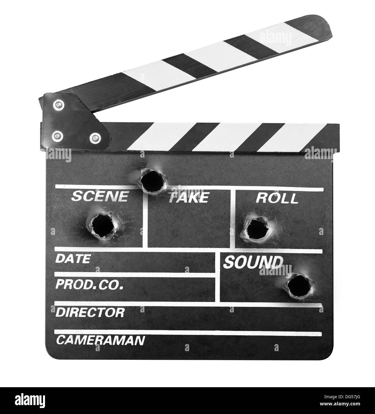 Movie clapper board avec trous de balle Photo Stock