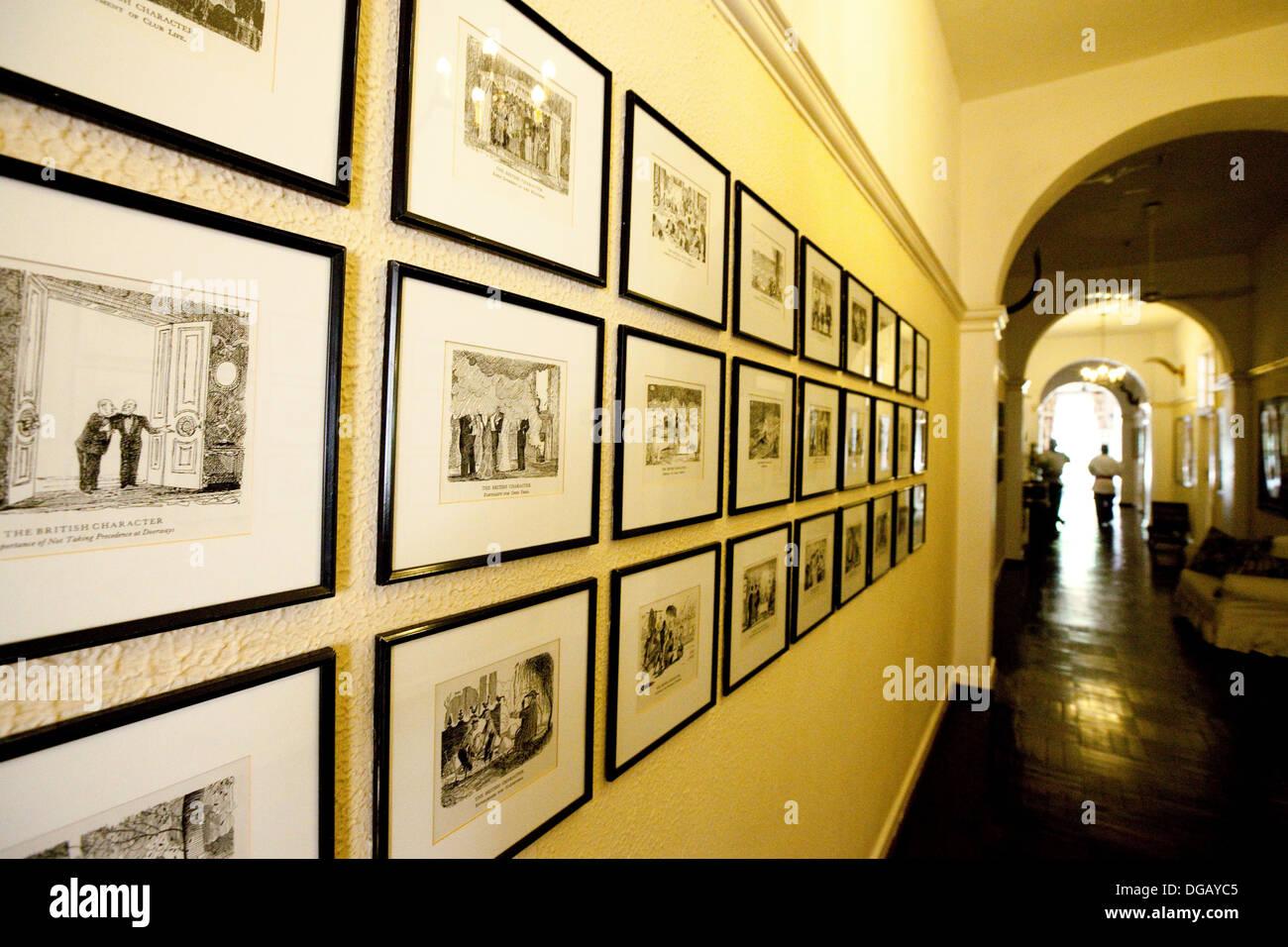 Les couloirs de l'hôtel 5 étoiles de style colonial Hotel Victoria Falls, Zimbabwe, Afrique du Sud Photo Stock