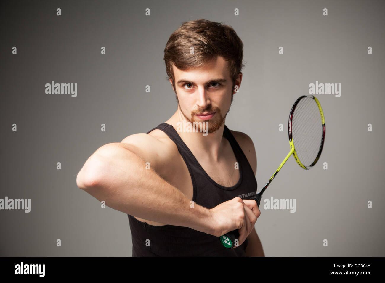 Modèle de joueur de badminton mâle Photo Stock