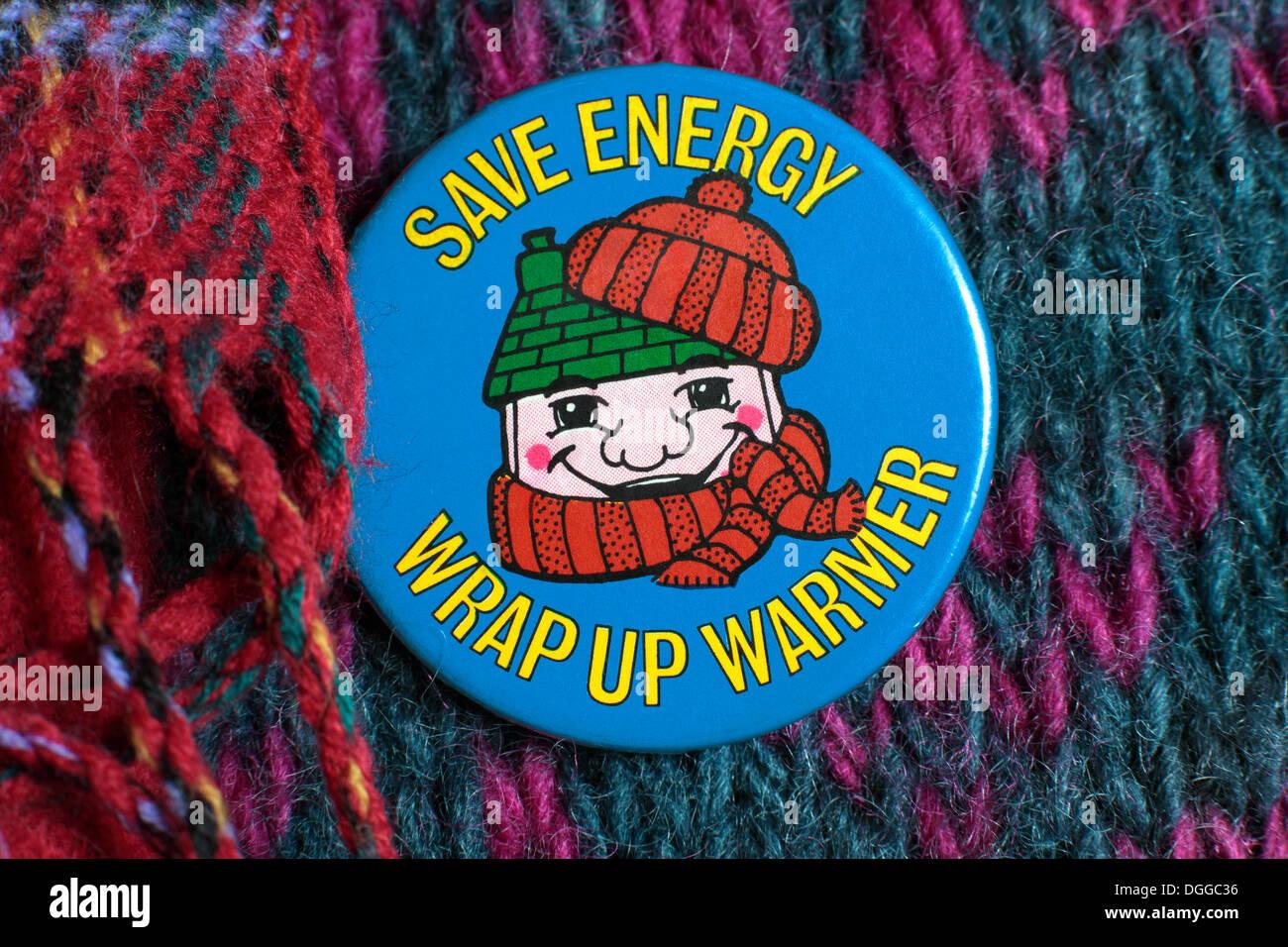 'Save Énergie - Clôturez plus chaude - la conservation de l'énergie d'un insigne à partir de 1980 environ. Plus d'infos à suivre bientôt... Photo Stock