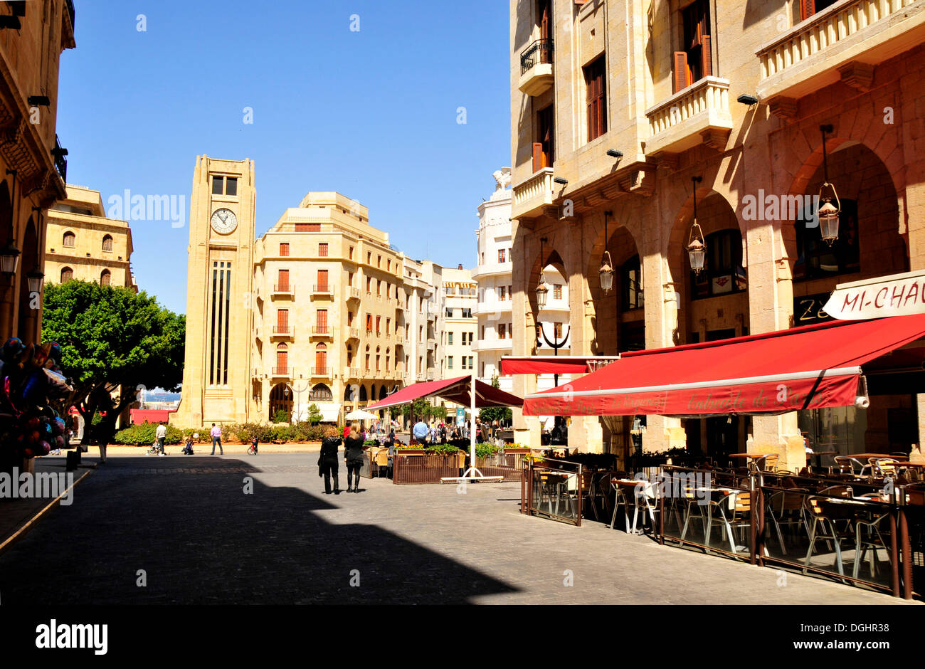 Street café sur la Place d'Etoile, Beyrouth, Liban, Moyen-Orient, Orient Photo Stock