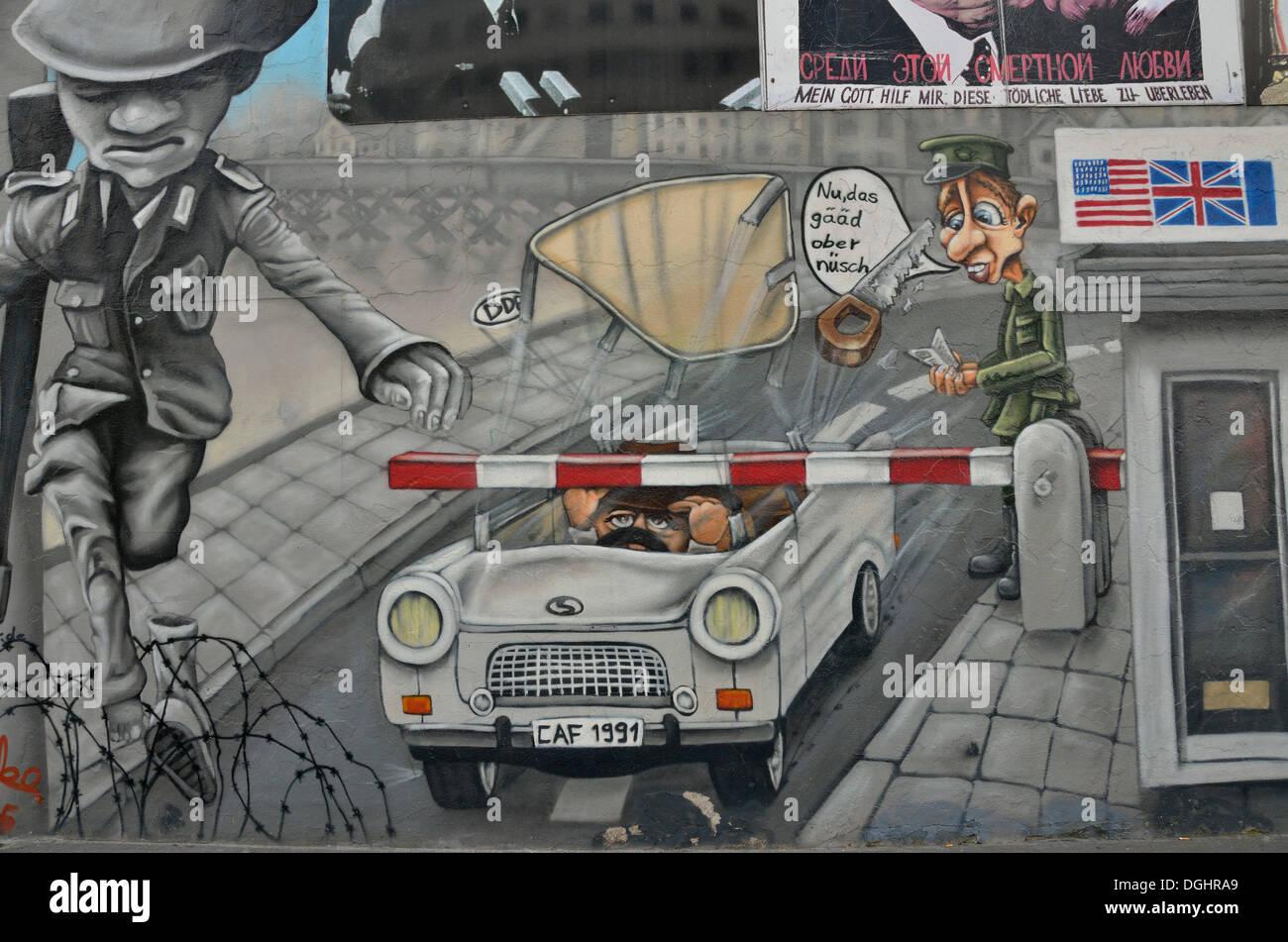 Fresque sur les vestiges du Mur de Berlin, East Side Gallery, Berlin-Friedrichshain, PublicGround Banque D'Images