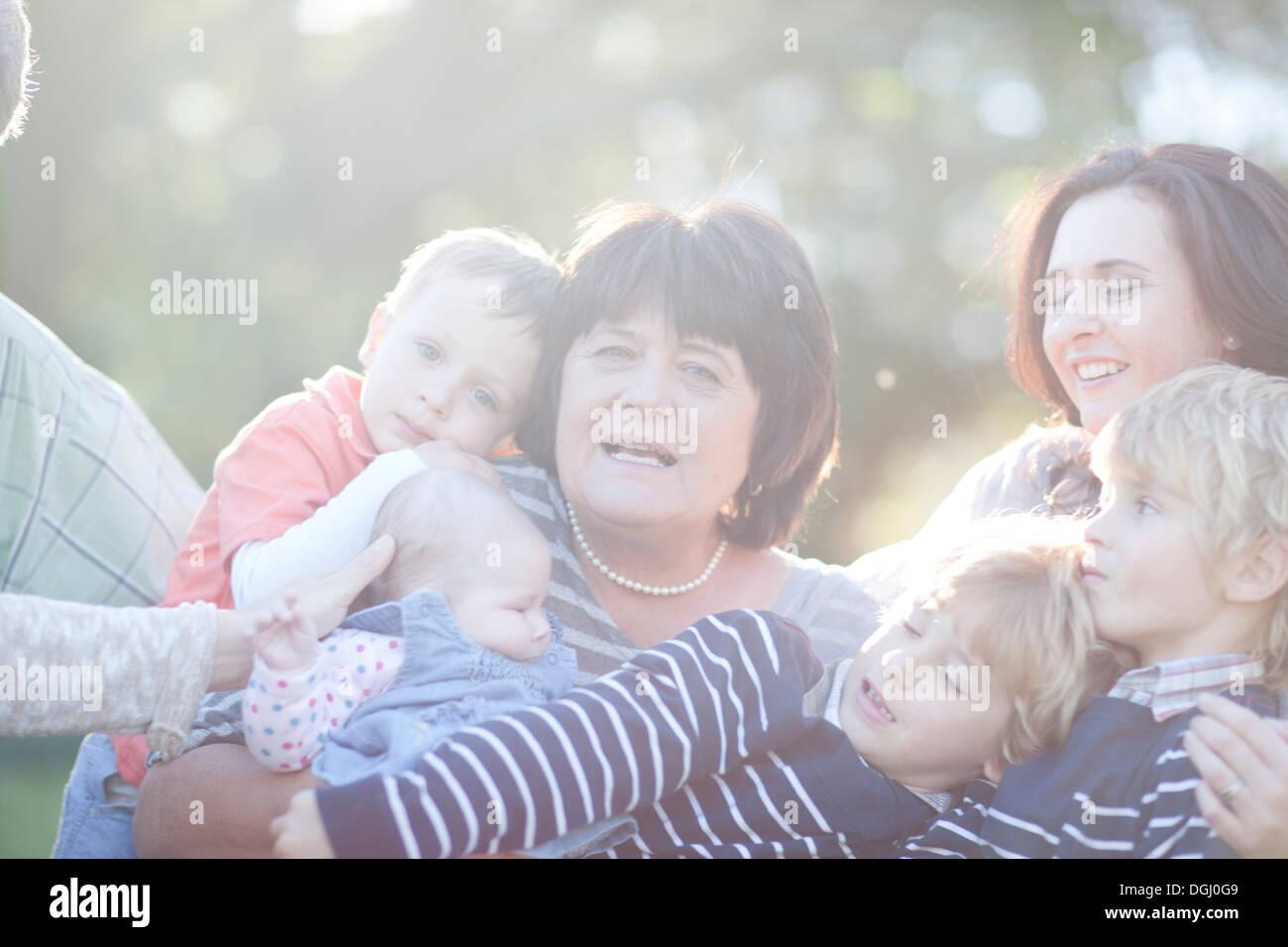 Three generation family Photo Stock