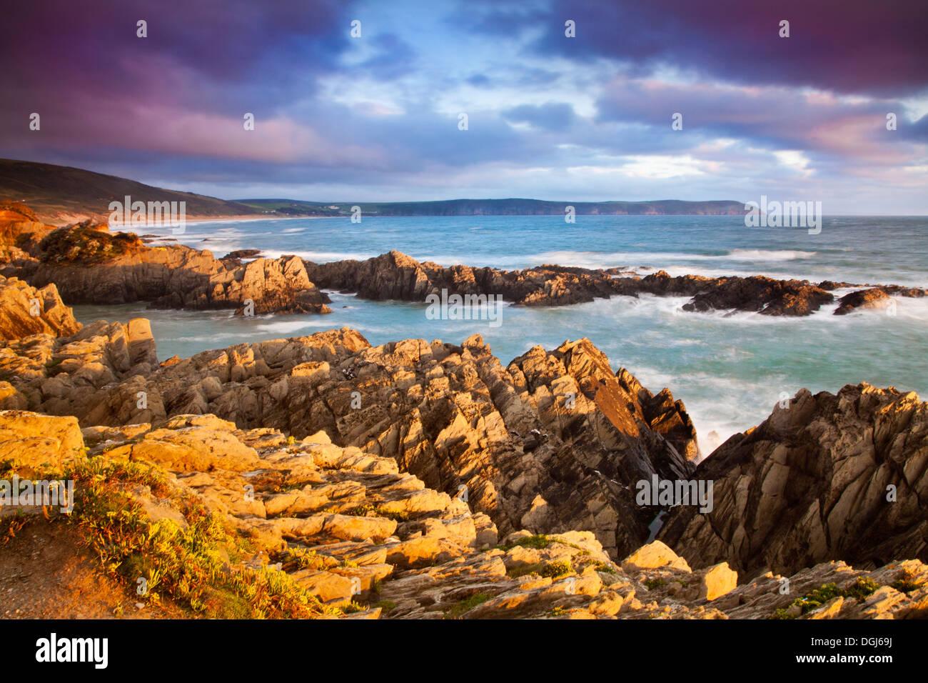 Lumière du soir tombe sur les rochers de la plage de Freshwater East à Woolacombe à vers Baggy Point. Photo Stock