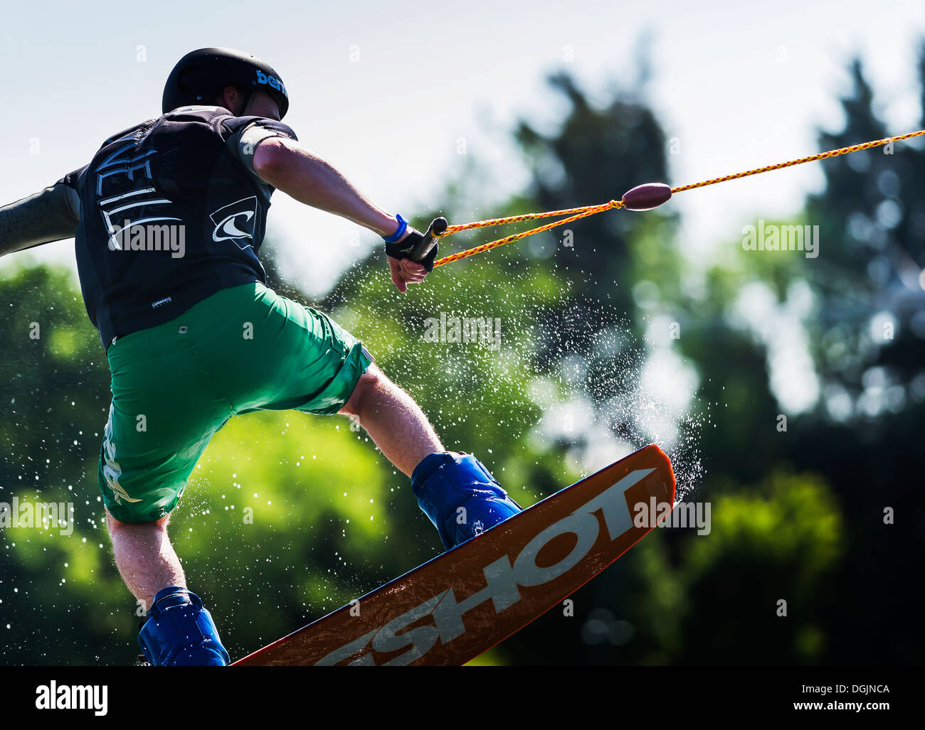 Wakeboard au Wakeboard Festival Basildon Park dans l'Essex. Photo Stock