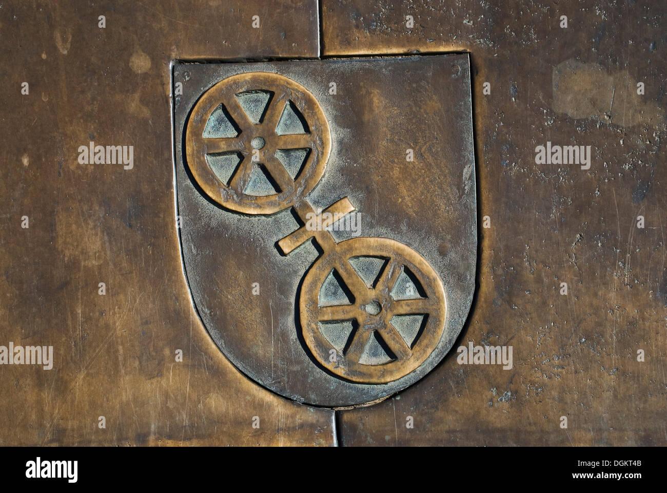 Armoiries en bronze, Mayence, capitale de la Rhénanie-Palatinat Photo Stock