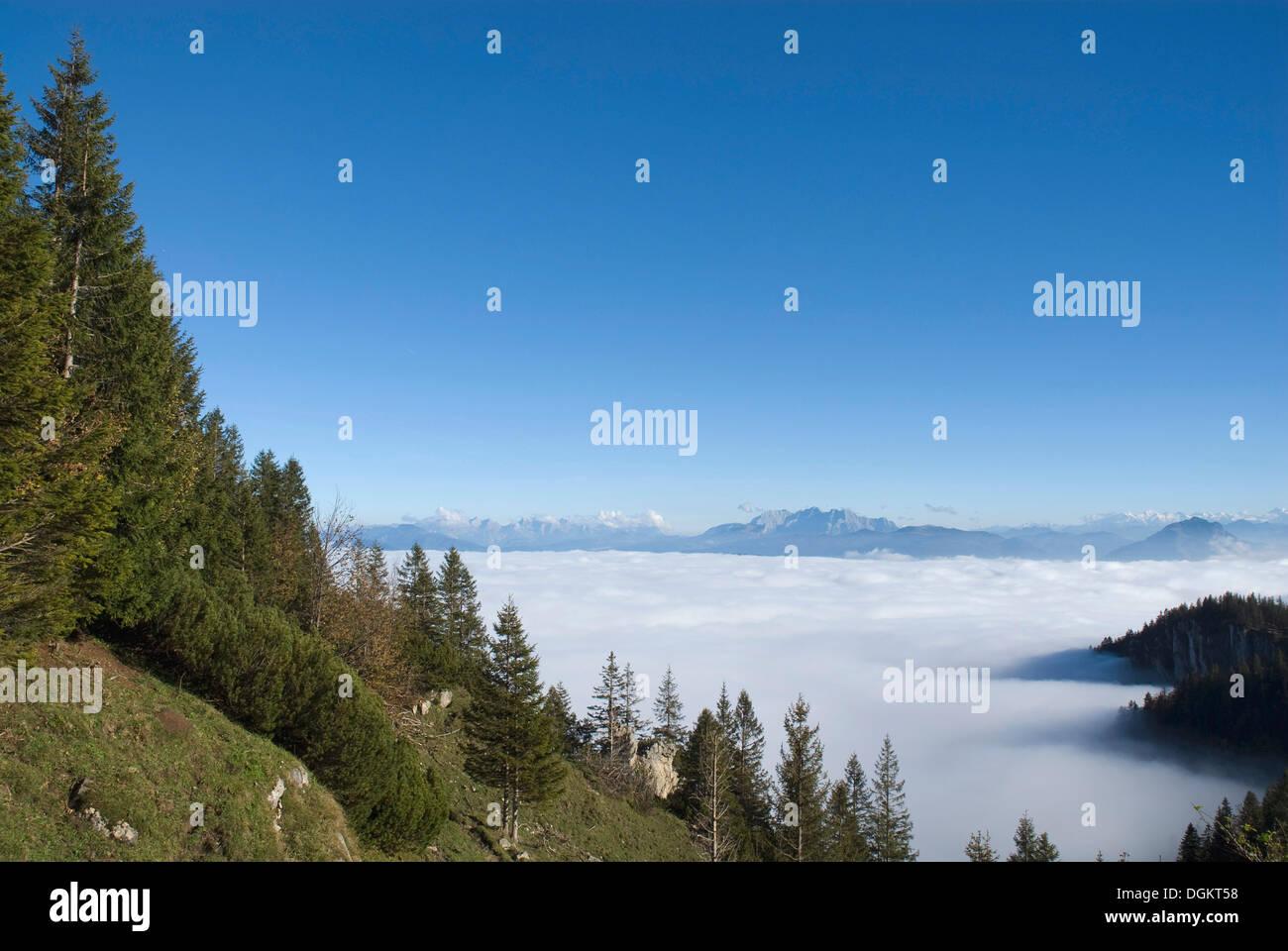Région de randonnée Kampenwand, vue sur les Alpes, enveloppée de brouillard, Chiemgau Haute-bavière Photo Stock