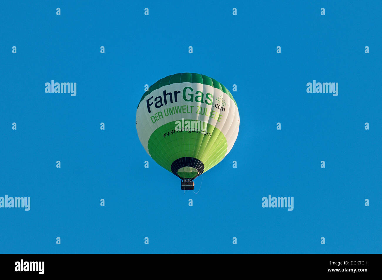 Hot Air Balloon, lettrage Fahrgas.com, une initiative visant à modifier les voitures de fonctionner au GPL, Gaz de Pétrole Liquéfié Photo Stock