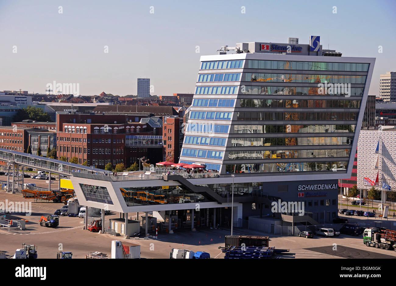 Vue sur le port de Kiel, Schweden Terminal, Kiel, Schleswig-Holstein Banque D'Images