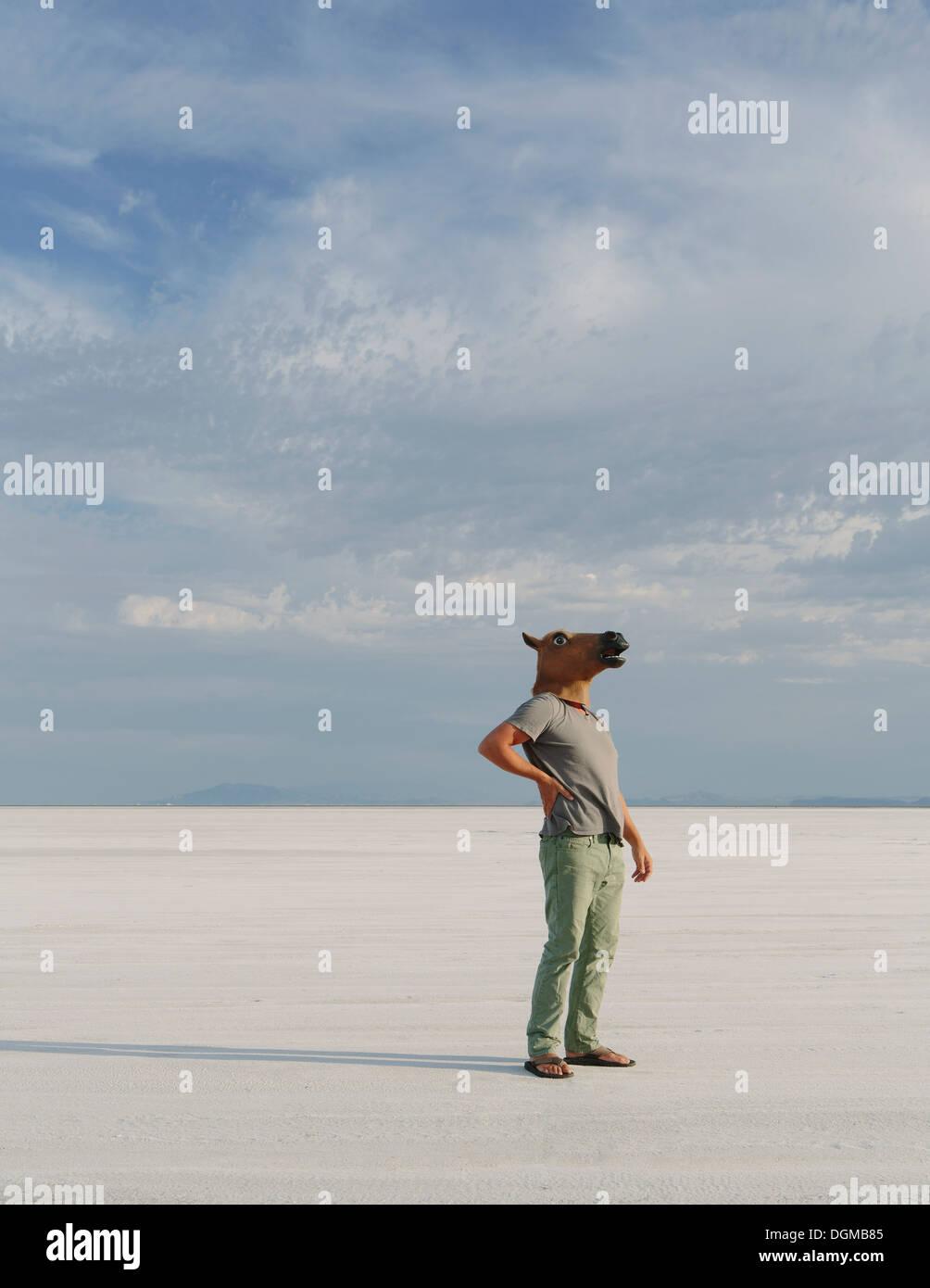 Un homme portant un masque de cheval, debout sur la Bonneville Salt Flats. Photo Stock