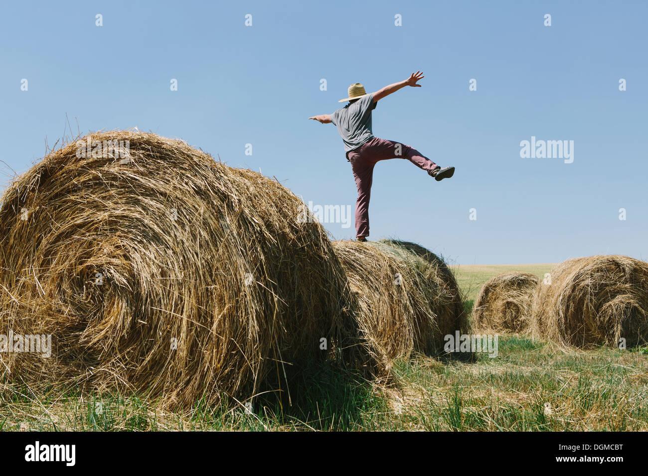 Vue arrière d'un homme en équilibre sur une jambe sur le dessus d'une balle de foin. Photo Stock