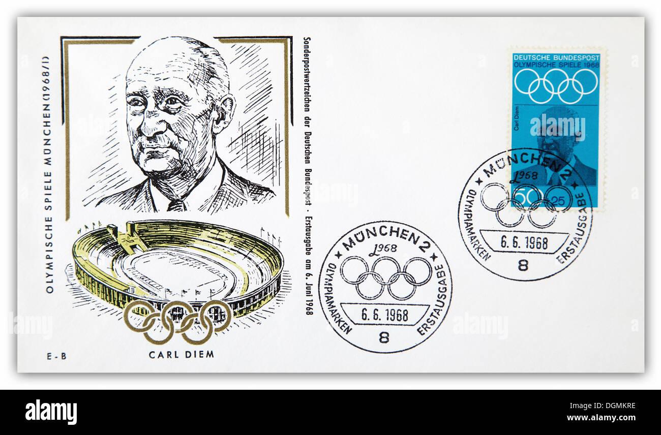 Enveloppe premier jour, Jeux Olympiques de Munich, timbre spécial pour Carl Diem, 6e juin 1968 Banque D'Images