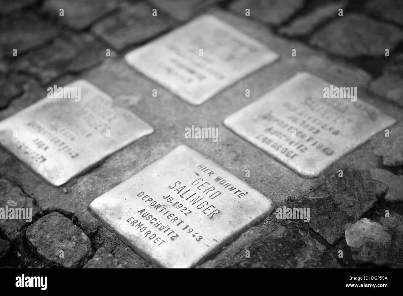 Stolpersteine, souvenir des citoyens de Berlin assassinés durant la seconde guerre mondiale, Berlin Photo Stock