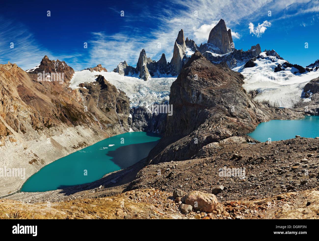 Laguna de los Tres et Laguna Sucia, Patagonie, Argentine Photo Stock
