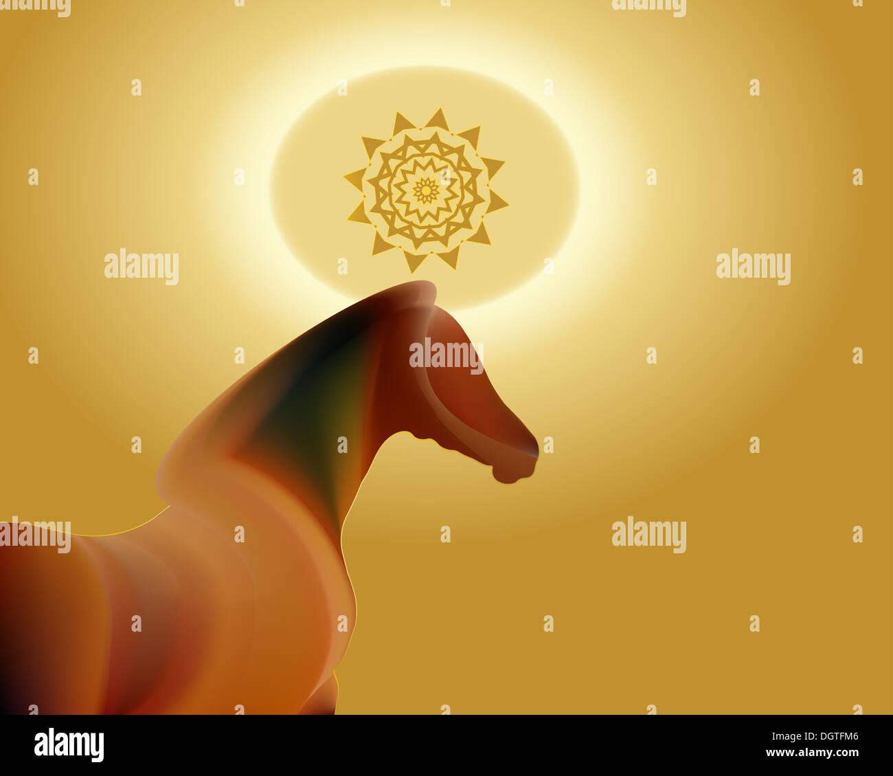 2014 Nouvelle Année lunaire chinoise du Zodiaque Cheval Photo Stock