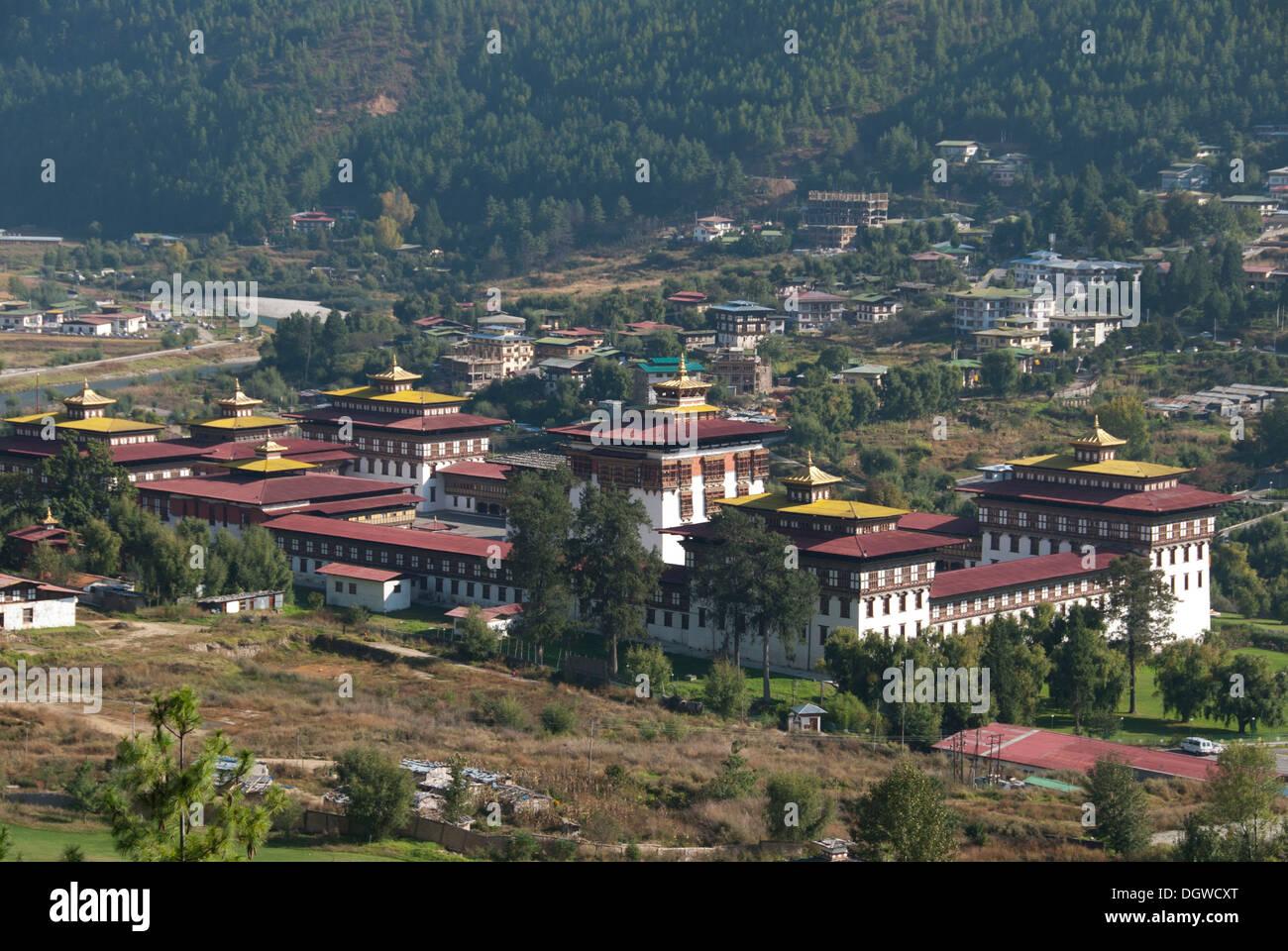 Monastère forteresse de Trashi Chhoe Dzong, siège du gouvernement, Thimphu, capitale du Royaume du Bhoutan, l'Asie du Sud, Asie Photo Stock