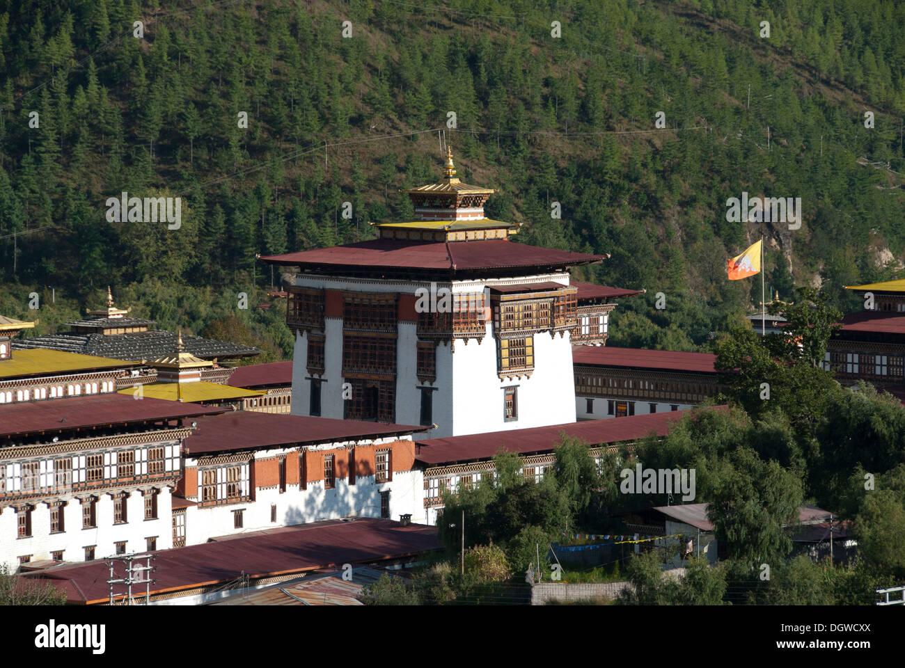 Bâtiment central de la forteresse Monastère de Trashi Chhoe Dzong, siège du gouvernement, Thimphu, capitale, Royaume du Bhoutan Photo Stock