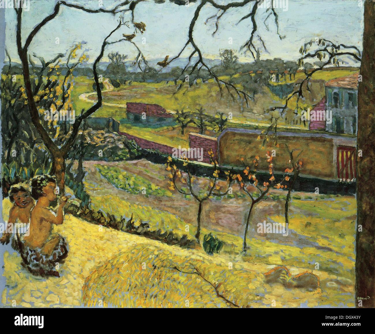 Au début du printemps, peu de faunes - par Pierre Bonnard, 1909 Photo Stock