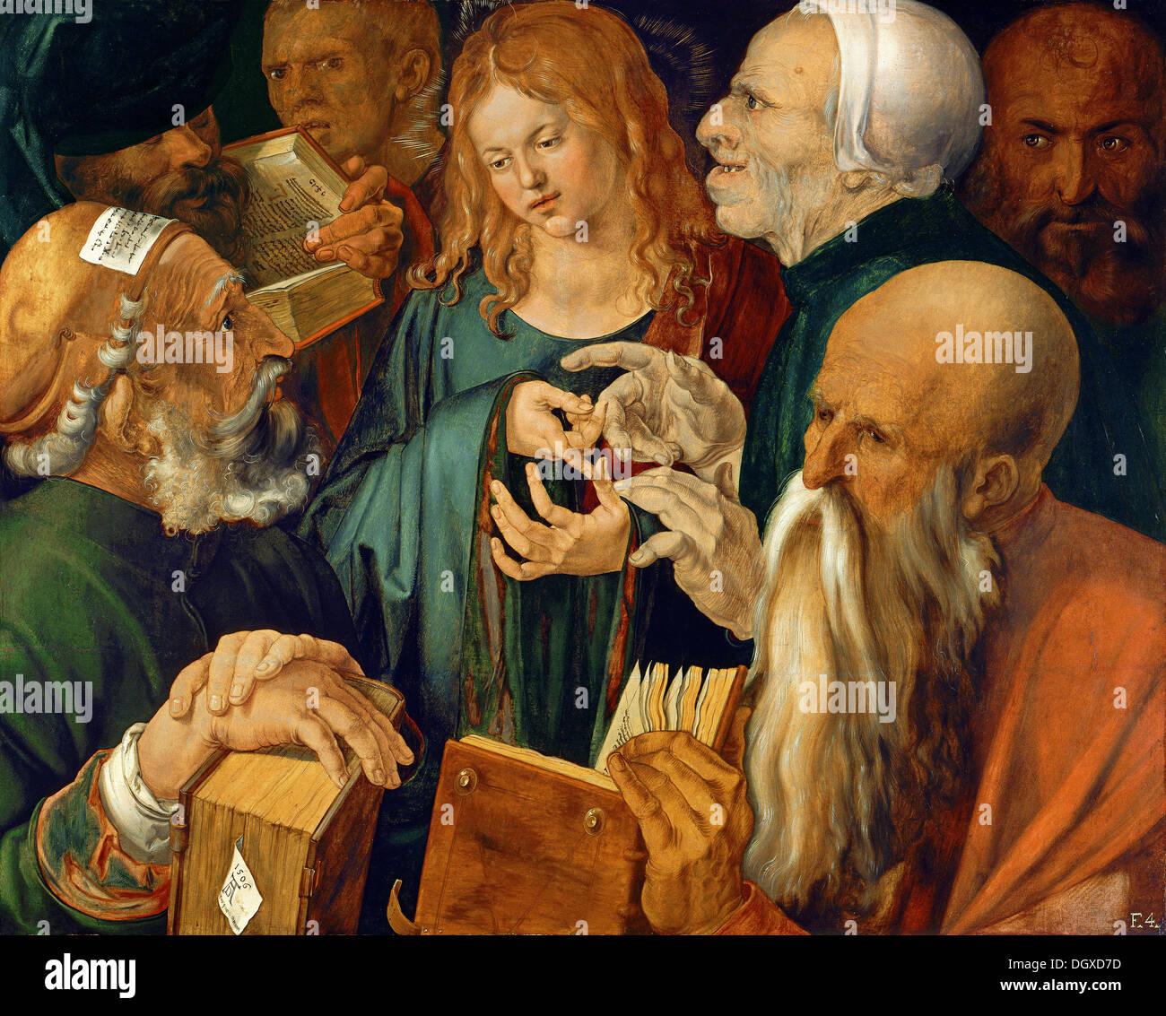 Douze ans, Jésus au Temple - par Albrecht Dürer, 1497 Photo Stock