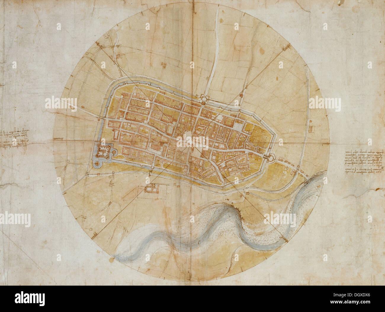 Site d'Imola - par Leonardo da Vinci, 1502 Photo Stock
