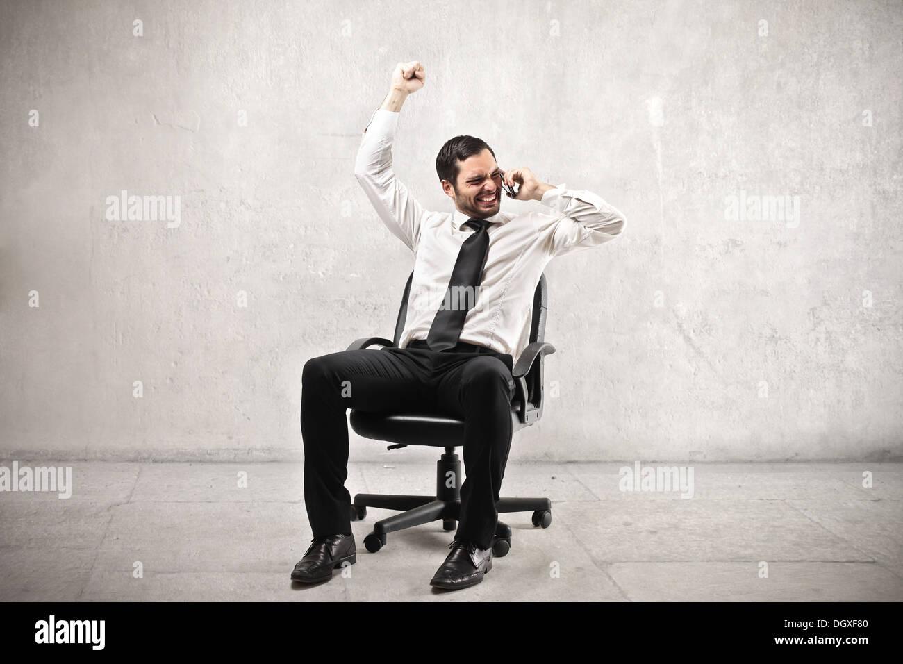 Businessman réjouissance Photo Stock