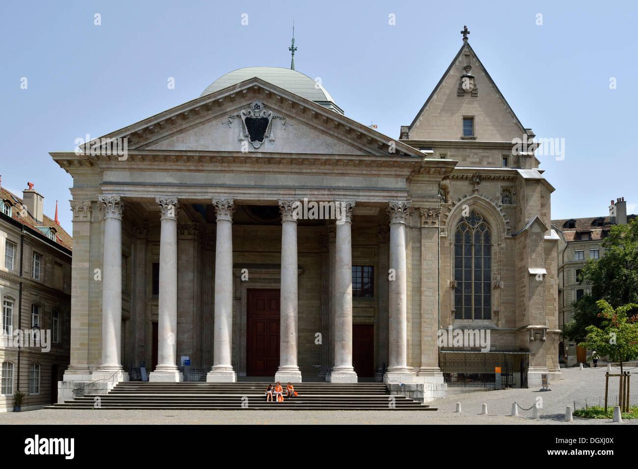 Cathédrale Saint-Pierre, la cathédrale St-Pierre, Genève, Suisse, Europe Photo Stock