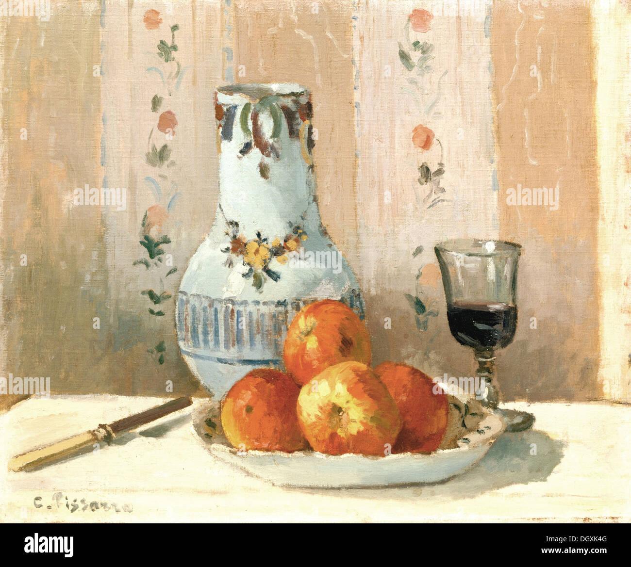 Nature morte avec pommes et Pitcher - par Camille Pissarro, 1872 Photo Stock