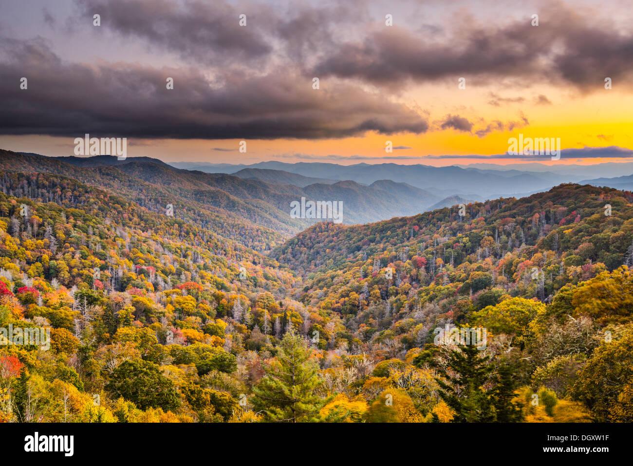 Coucher du soleil d'automne dans les Smoky Mountains National Park. Photo Stock
