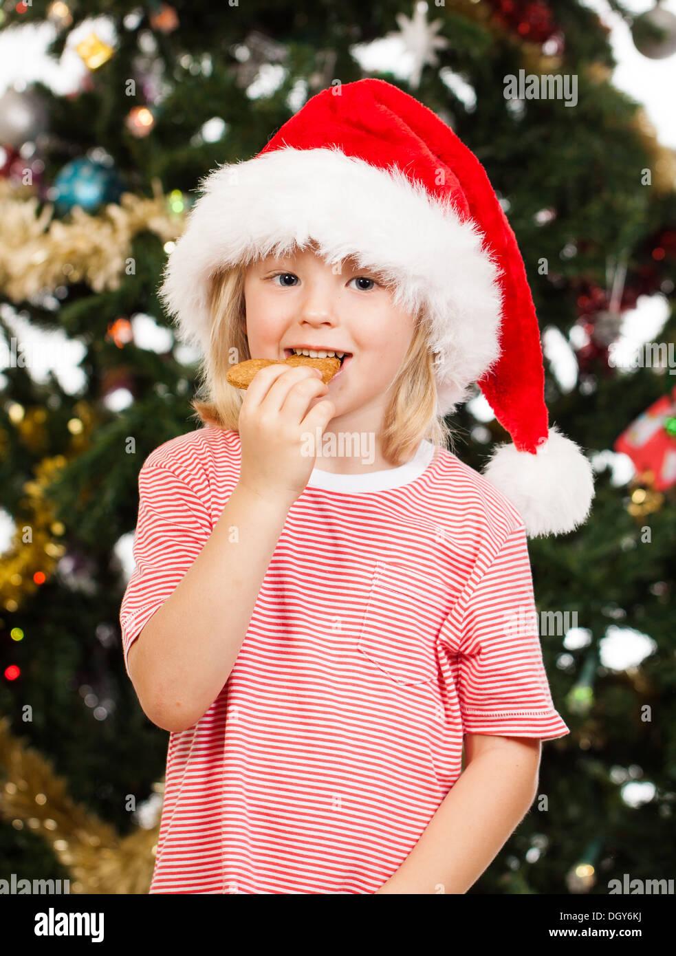 Cute boy dressed as Santa's helper est de manger un cookie d'épice en face d'un arbre de Noël Photo Stock