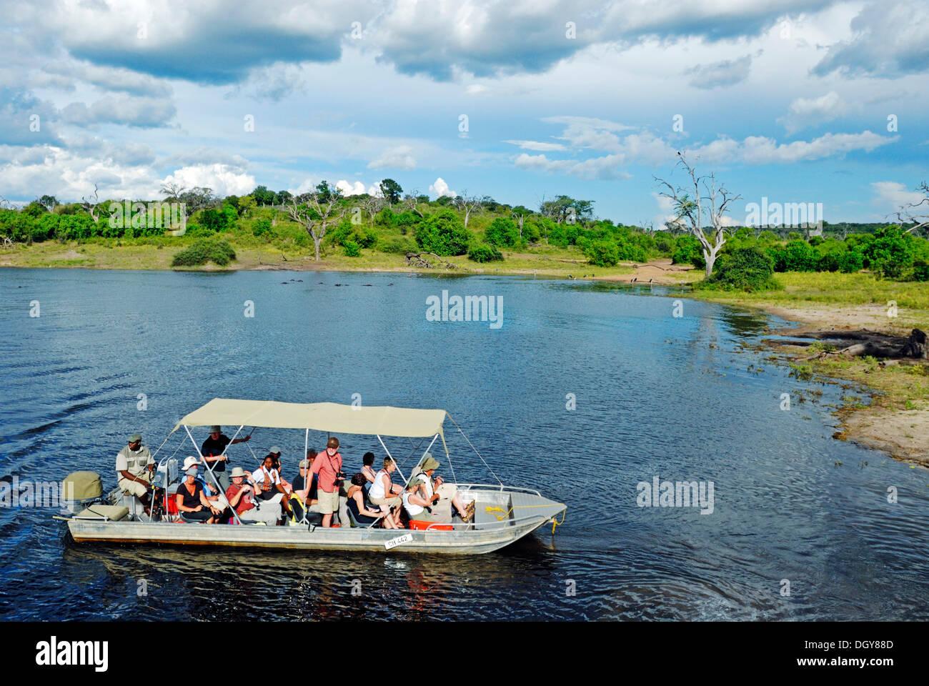 Safari sur la rivière Chobe, excursion en bateau avec des touristes dans le Parc National de Chobe près de Kasane, Botswana, Africa Photo Stock