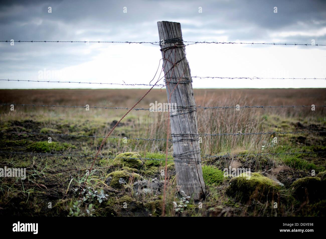 En bois avec du fil de fer barbelé, une clôture près de Kirkjubaejarklaustur, Opava, ville de Skaftárhreppur Banque D'Images