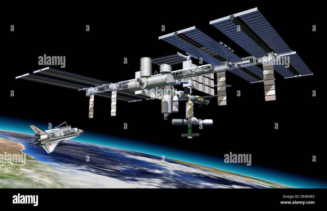 Station spatiale internationale (ISS) en orbite autour de la terre, avec la navette et la terre en bas. Photo Stock