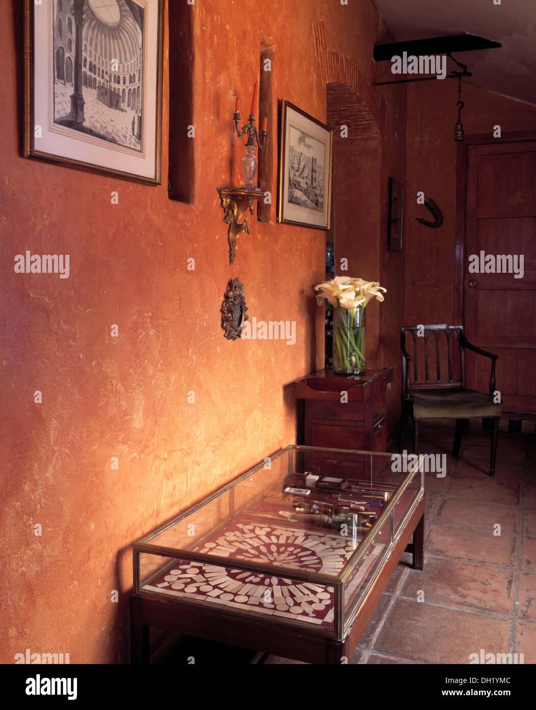 Peinture Couleur Terre Cuite avec table en verre rectangulaire en cas de couleur terre