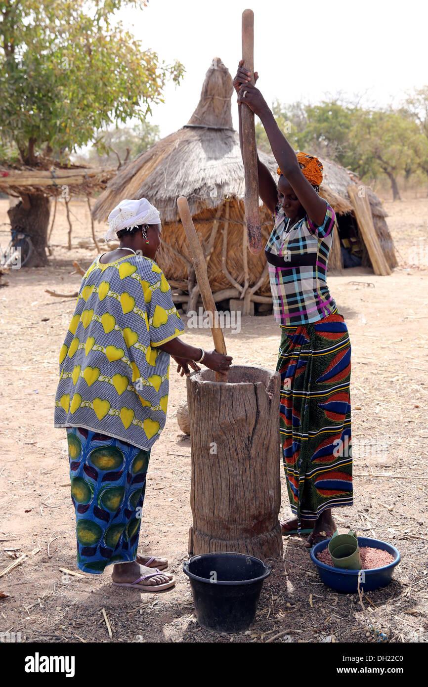 Battre les femmes millet dans un mortier en bois. Sissénin Village près de Koudougou, Burkina Faso, Afrique Photo Stock