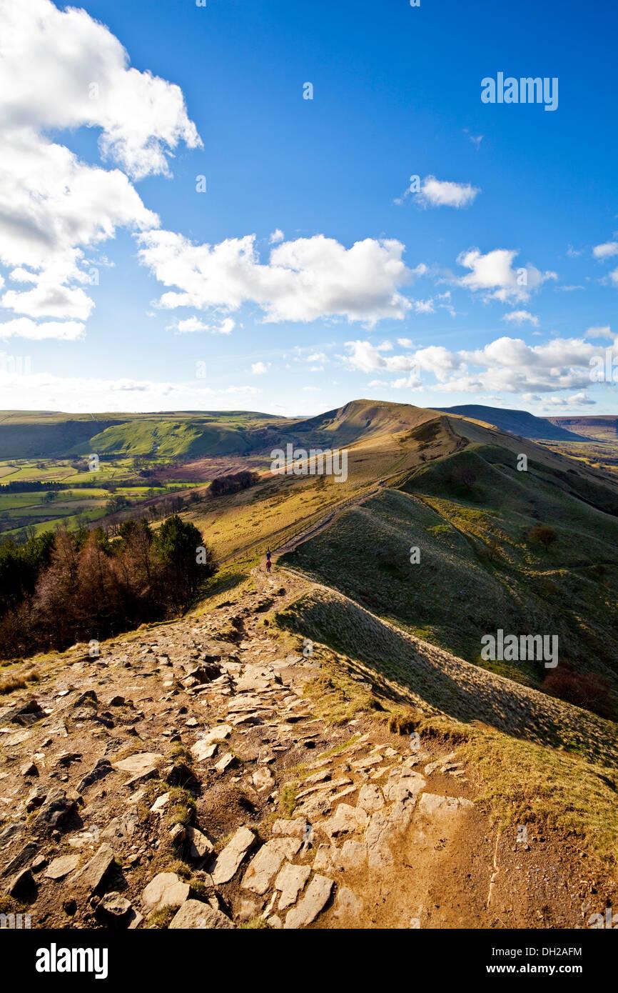 Un Mam Tor vue Paysage de Hollins Cross Peak District UK Banque D'Images