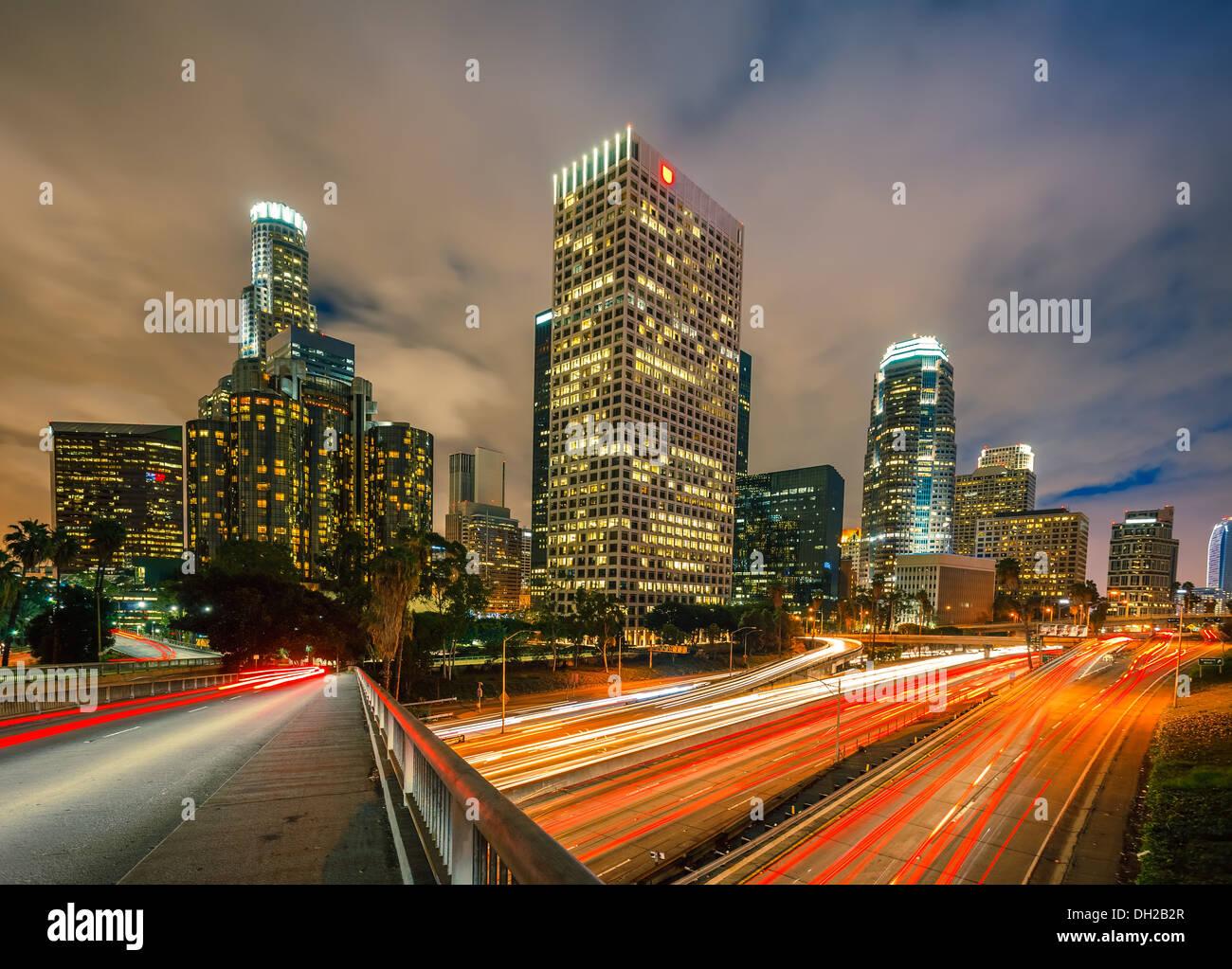Los Angeles at night Photo Stock