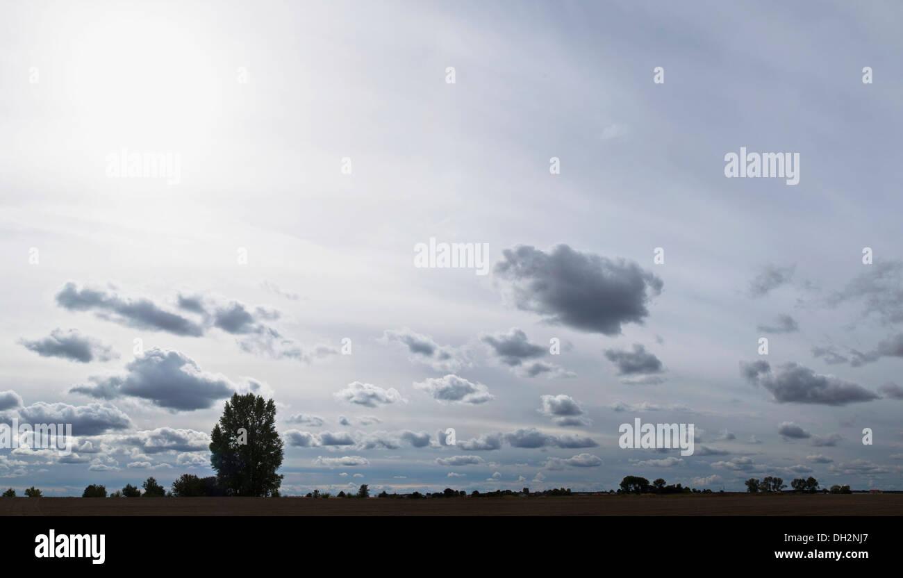 Paysage rural ou beau ciel avec les nuages et l'horizon Photo Stock