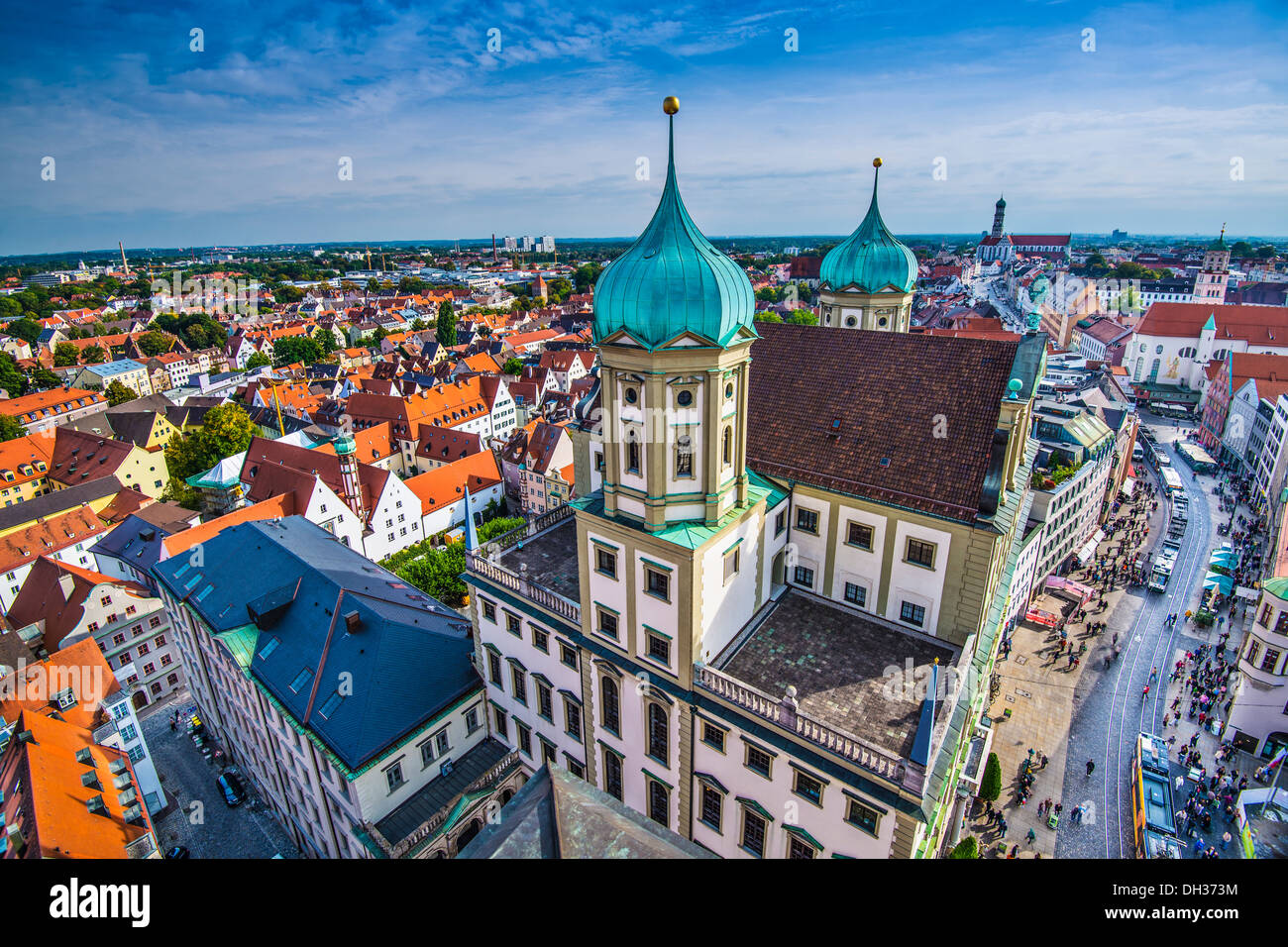 Augsburg Allemagne ancien paysage urbain. Photo Stock