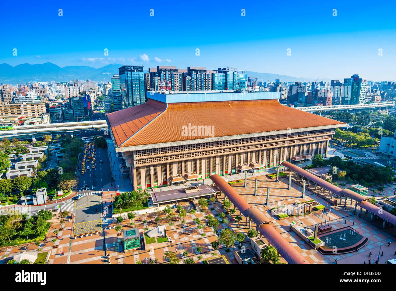 La gare principale de Taipei dans l'Zhongzheng District de Taipei, Taiwan. Photo Stock