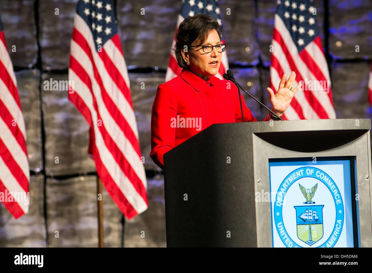 Le secrétaire américain du Commerce Penny Pritzker. Photo Stock