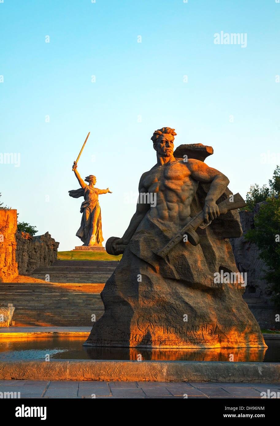 'La Patrie appelle!' monument à Volgograd, Russie. Photo Stock