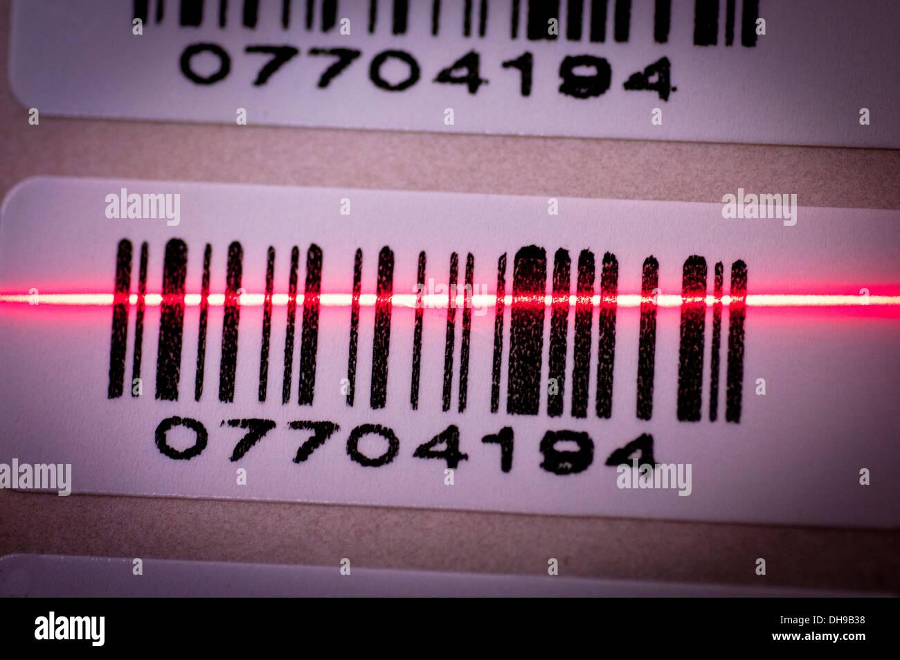 Un code-barres scanné Photo Stock
