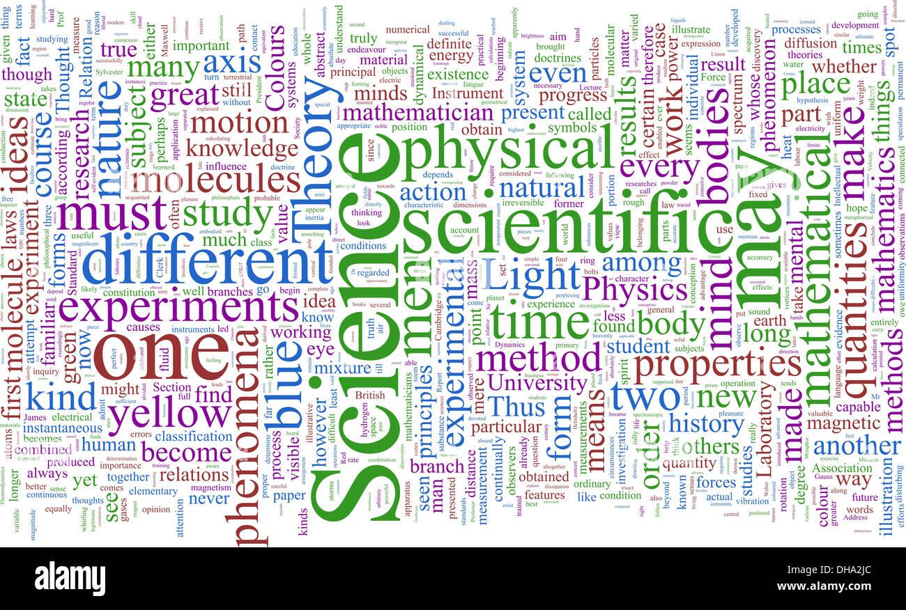 Nuage de mots basé sur James Clerk Maxwell Photo Stock
