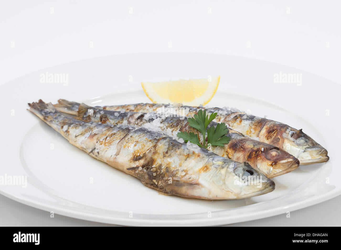 Sardines grillées au citron, sel de mer et un petit bouquet de persil Photo Stock