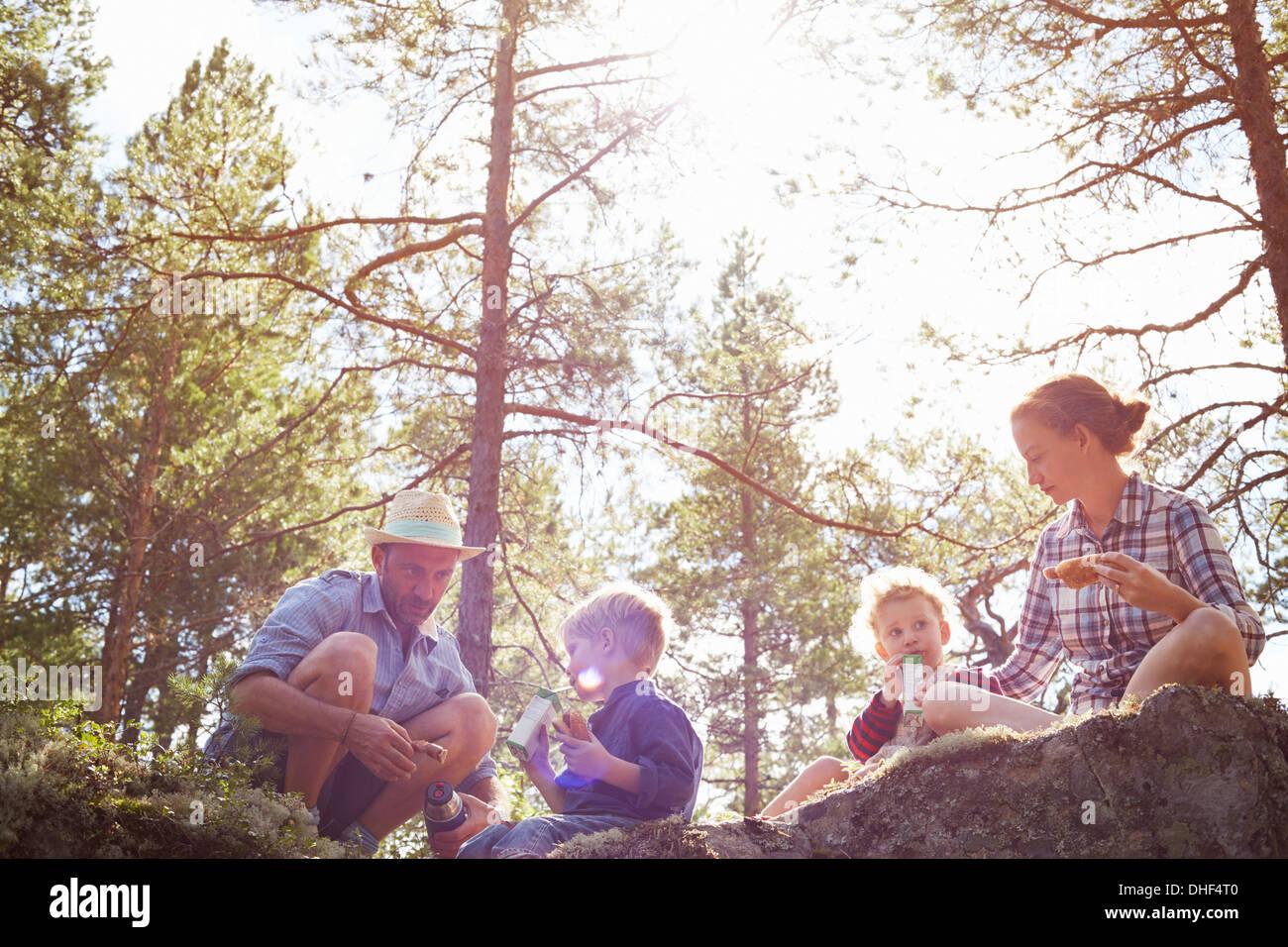 Family having picnic assis sur des rochers Photo Stock