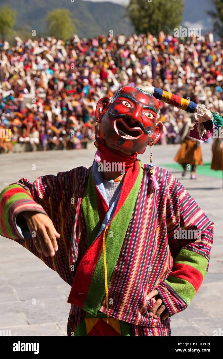 Le Bhoutan, Thimphu Dzong, Tsechu festival annuel, Atsara, masqués jester gesturing Photo Stock