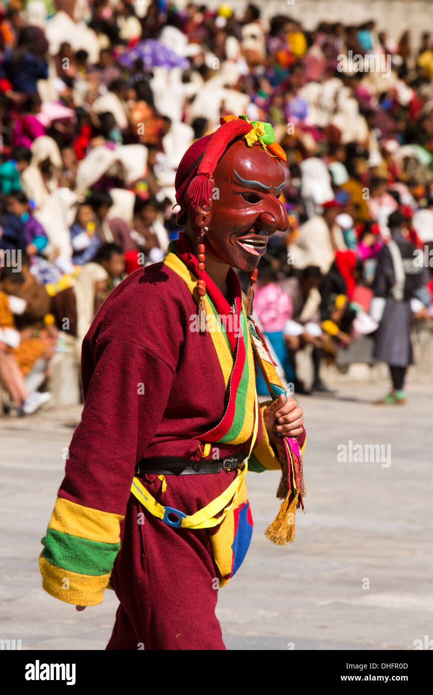 Le Bhoutan, Thimphu Dzong, Tsechu festival annuel, Atsara, bouffon masqué Photo Stock