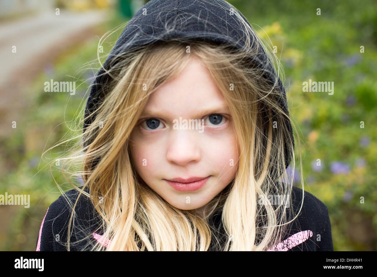Portrait of Girl wearing hood Photo Stock
