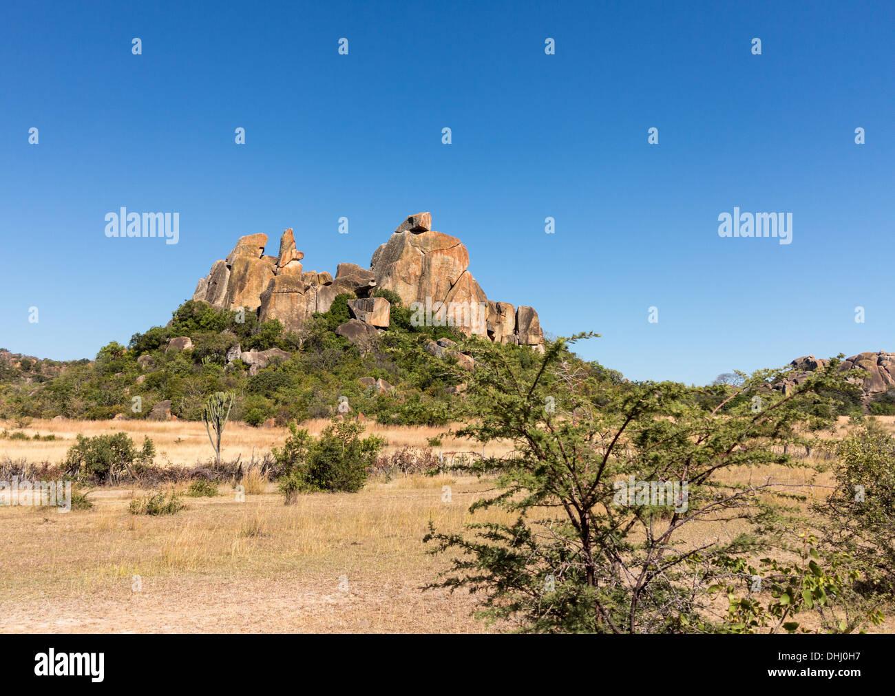 Des formations de roche de granit à Matobo National Park près de Bulawao, Zimbabwe, Afrique du Sud Photo Stock