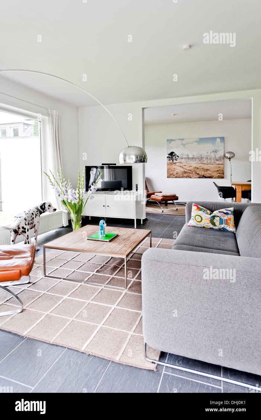 Salle de séjour, une maison d'habitation à Bauhaus, Hambourg, Allemagne Photo Stock